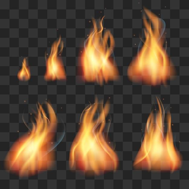 Réaliste feu animation sprites flammes vector set Vecteur Premium