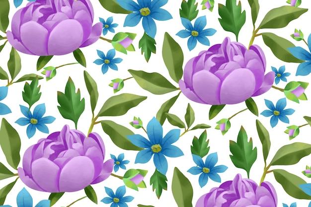 Réaliste main peint fond floral Vecteur gratuit