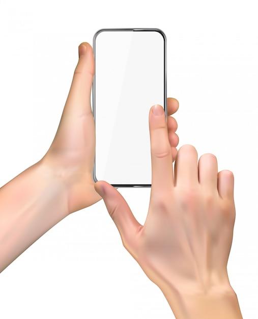 Réaliste Main Tenant Le Téléphone Portable Isolé Sur Blanc Vecteur Premium