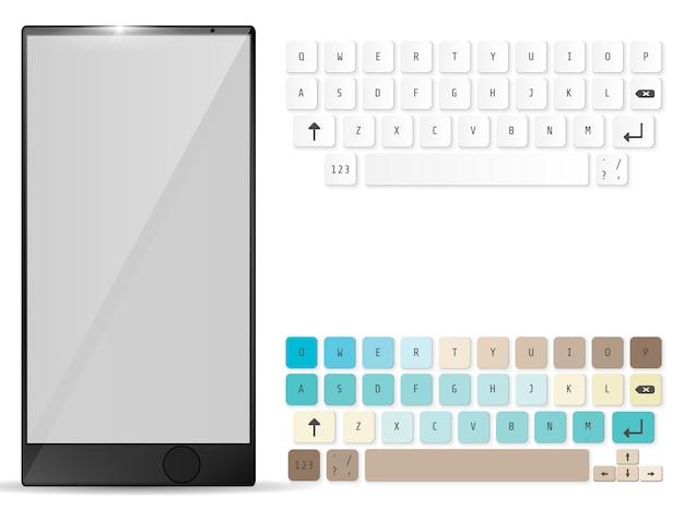Réaliste mobile et clavier mobile Vecteur Premium