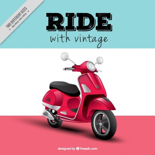 Réaliste motor-scooter fond Vecteur gratuit