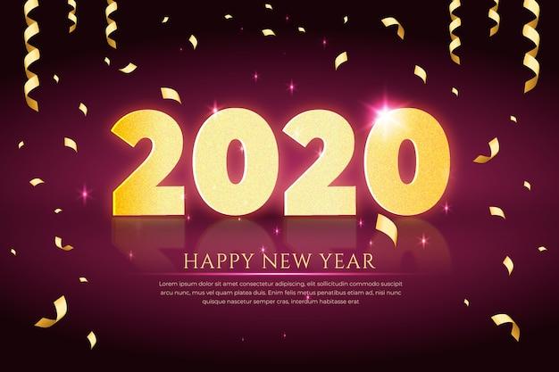 Réaliste nouvel an 2020 avec des confettis et un ruban Vecteur gratuit
