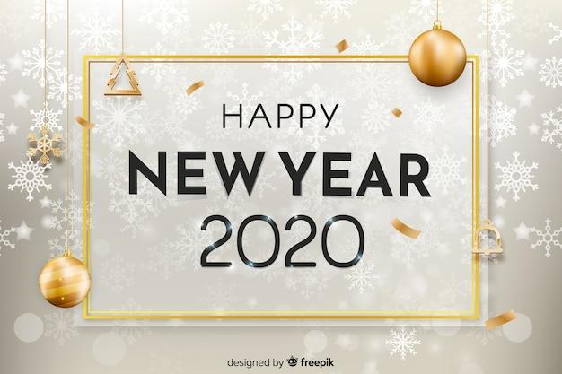Réaliste Nouvel An 2020 Avec Des Flocons De Neige Vecteur gratuit