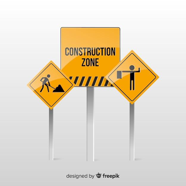 Réaliste sous construction signe Vecteur gratuit
