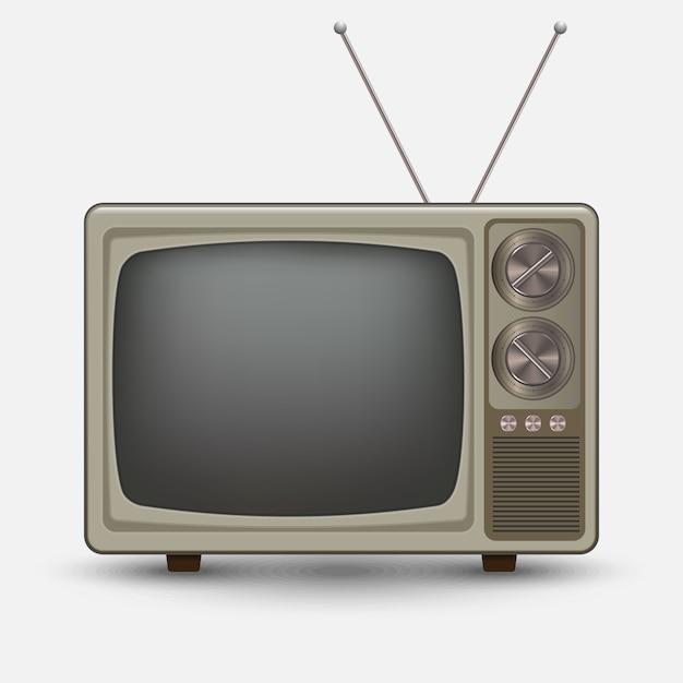 Réaliste vieille télé vintage. televesion rétro. illustration sur fond blanc Vecteur Premium
