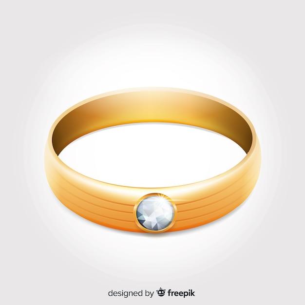 Réalistes belles bagues de mariage en or Vecteur gratuit
