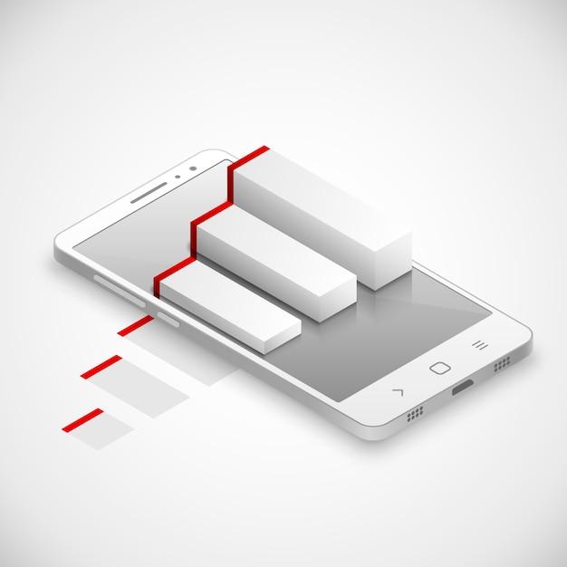 Réalité augmentée dans un smartphone tactile moderne. illustration vectorielle Vecteur Premium