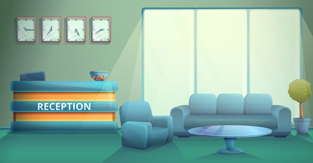 Réception De Bureau Le Matin En Style Cartoon, Illustration Vectorielle Vecteur Premium