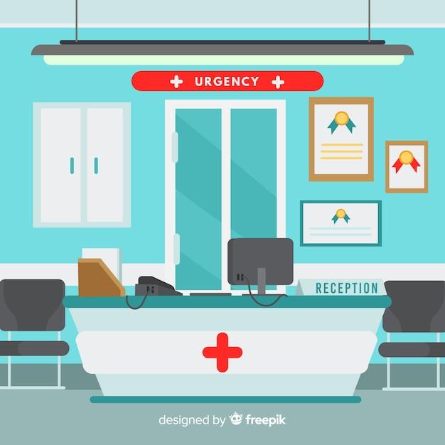 Réception de l'hôpital moderne Vecteur gratuit