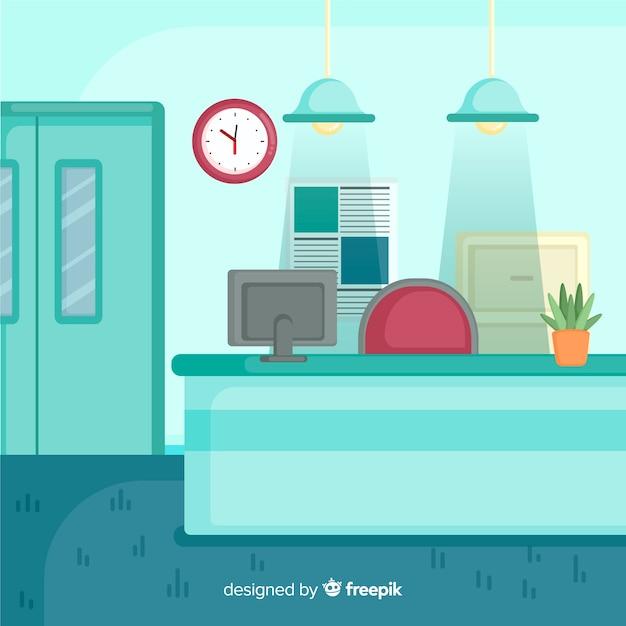 Réception hospitalière avec design plat Vecteur gratuit
