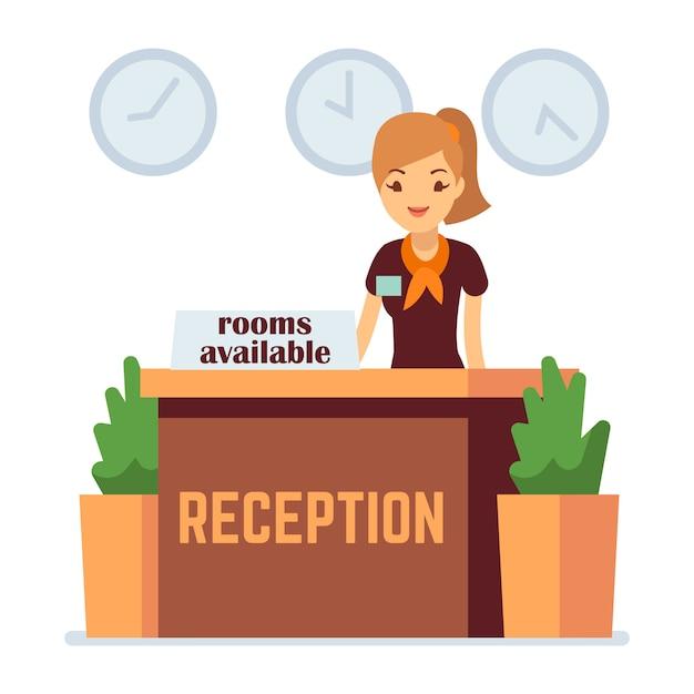 Réception De L'hôtel Avec Une Femme Vecteur Premium