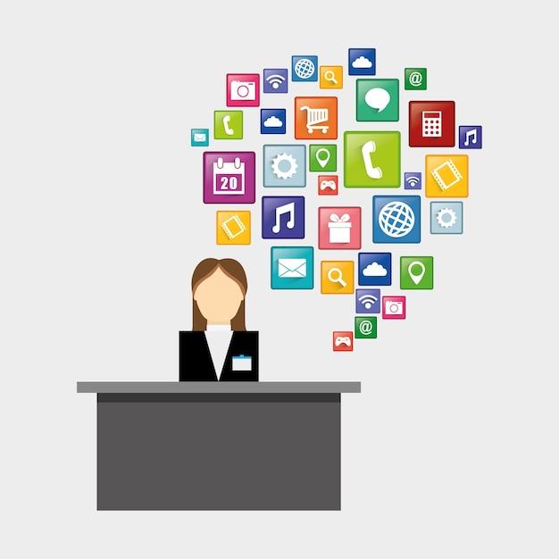 Réceptionniste de la conception d'hôtels et d'applications numériques Vecteur Premium