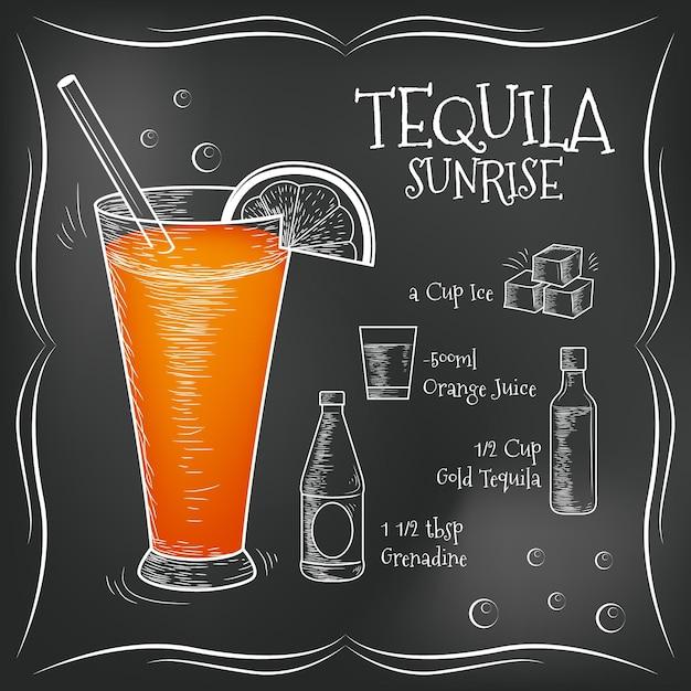Recette De Cocktail Blackboard Vecteur gratuit