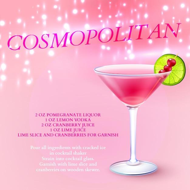 Recette de cocktail cosmopolite Vecteur gratuit