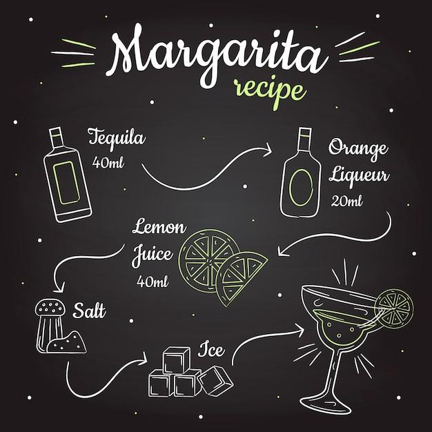 Recette De Cocktail Margarita Tableau Noir Vecteur gratuit