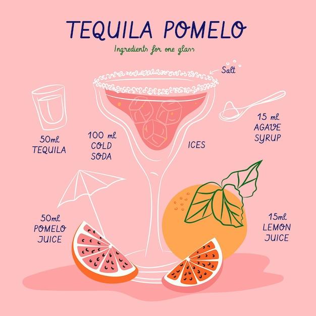 Recette De Cocktail Pour Tequila Pomelo Vecteur gratuit