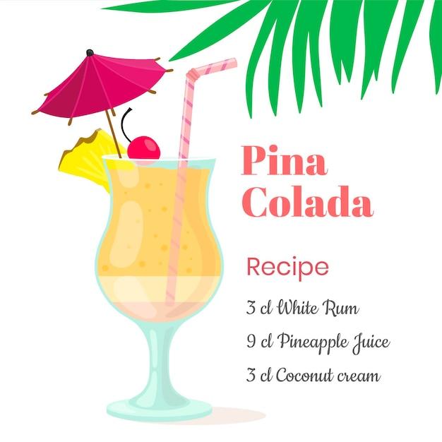 Recette Cocktail Vecteur gratuit