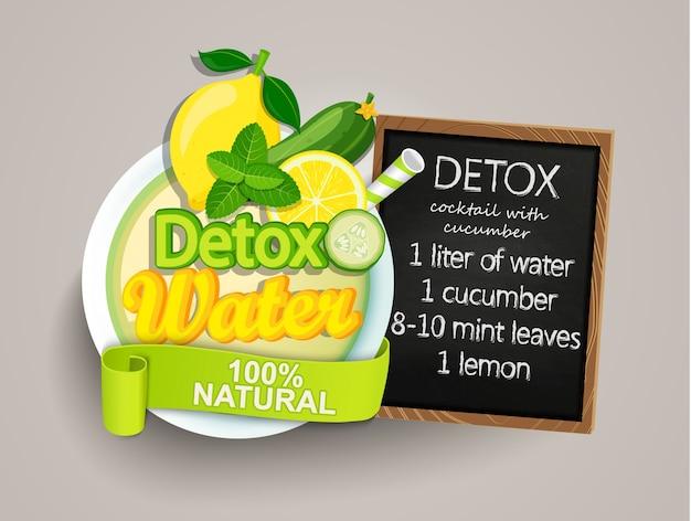 Recette désintoxication cocktail-concombre, citron, eau, menthe. Vecteur Premium