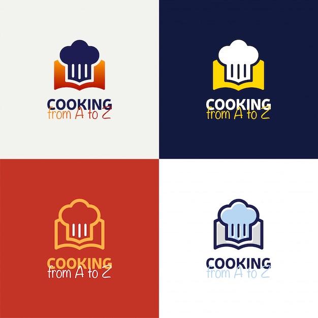 Recette livre logo template design dans la conception de vecteur de style de contour. Vecteur Premium