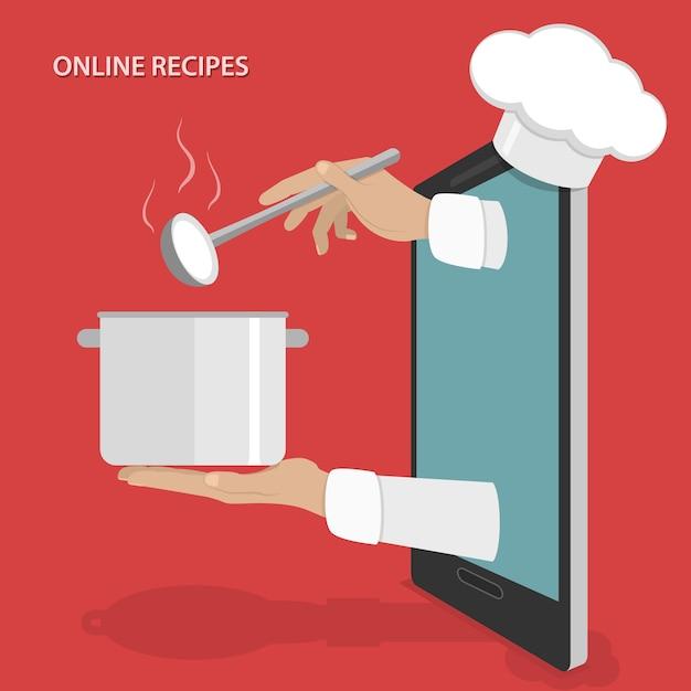 Recettes de plats en ligne Vecteur Premium