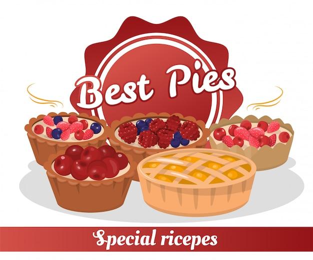 Recettes spéciales pour la meilleure pâtisserie Vecteur Premium