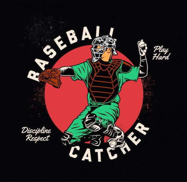 Receveur de baseball Vecteur Premium