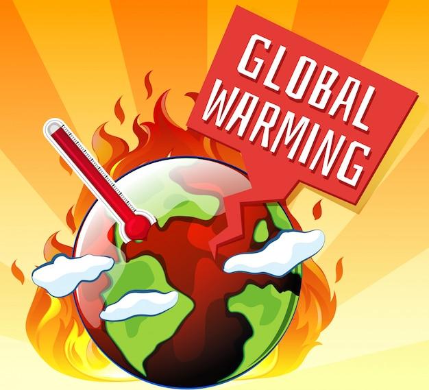 Le Réchauffement Climatique Avec La Terre En Feu Vecteur gratuit