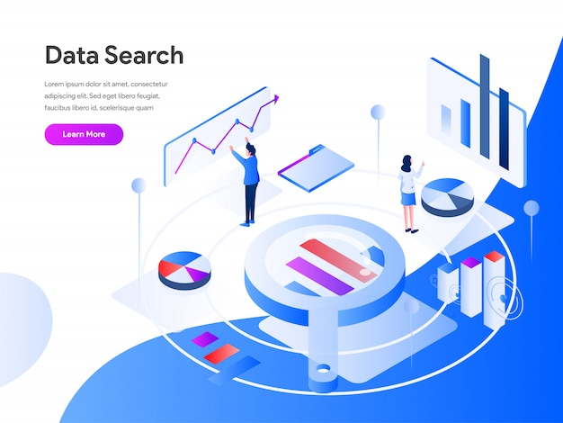Recherche de données isométrique Vecteur Premium