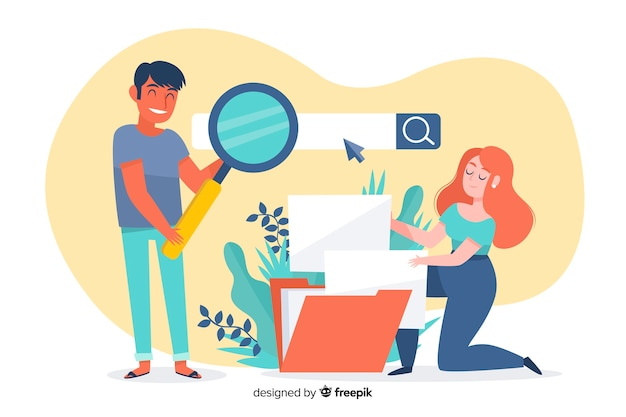 Recherche De Fichier Illustrée Concept Pour La Page De Destination Vecteur gratuit