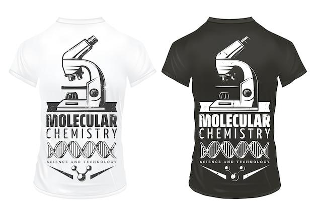 Recherche De Laboratoire Vintage Imprime Le Modèle Avec Structure Moléculaire D'adn De Microscope D'inscription Sur Des Chemises Blanches Et Noires Isolées Vecteur gratuit