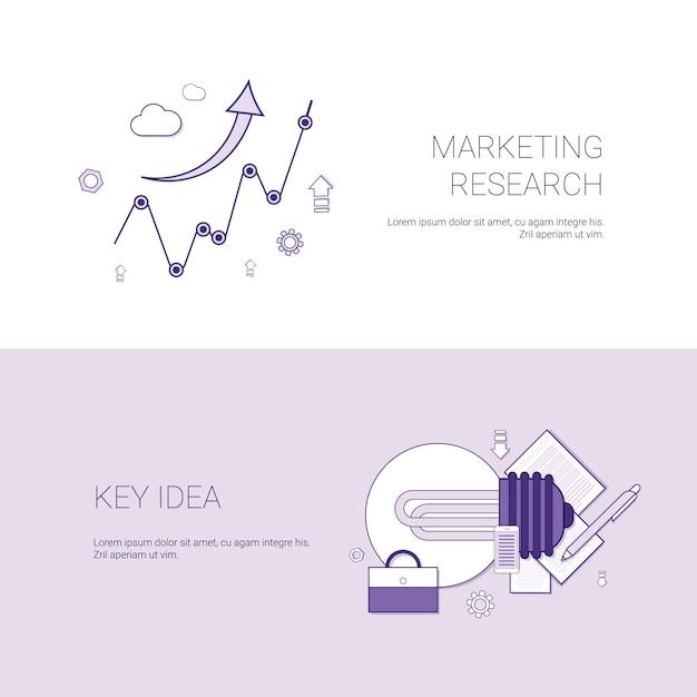 Recherche marketing et bannière web de modèles d'idées clés avec espace de copie Vecteur Premium