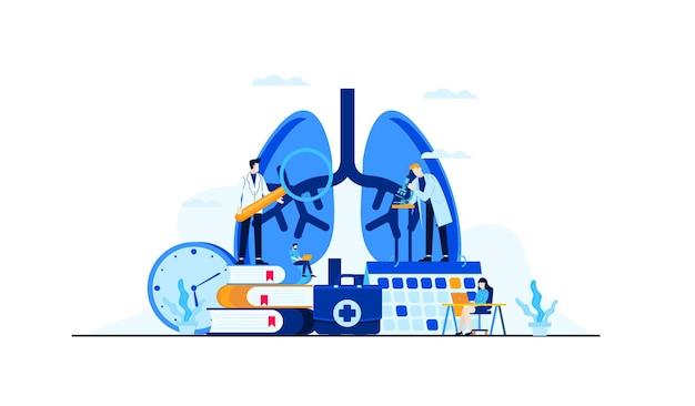 Recherche De Médecin Illustration Plat Maladie Pulmonaire Pour La Conception De Concept De Traitement Vecteur Premium