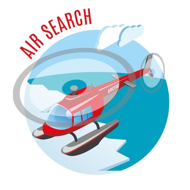 Recherche à Partir De La Composition Isométrique De L'air Avec Un Hélicoptère Au-dessus De La Glace Polaire Et De L'océan Arctique Vecteur gratuit