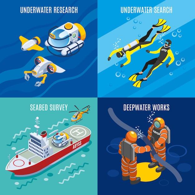 Recherche Sous-marine Des Profondeurs Isométriques Vecteur gratuit