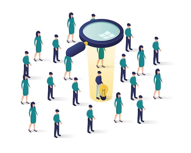 Rechercher une illustration isométrique du candidat, Vecteur Premium