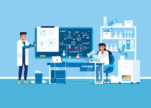 Recherches En Blouse Travaillant Dans Un Laboratoire Scientifique Vecteur gratuit