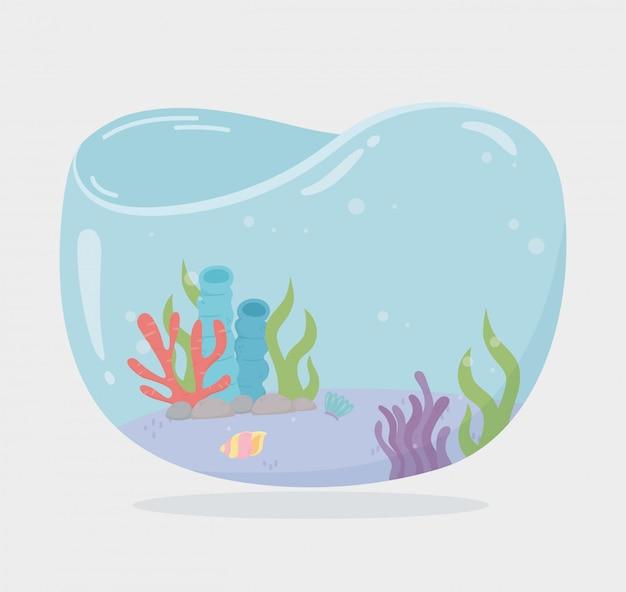 Récif D'algues Shellsea Réservoir En Forme D'eau Pour Les Poissons Sous La Mer Illustration Vectorielle De Dessin Animé Vecteur Premium
