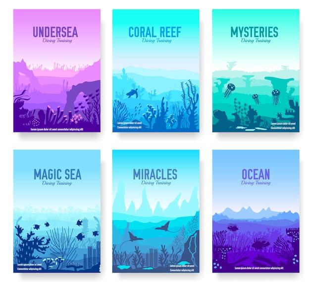 Récif De Corail Dans L'océan Modèle De Flyer Vecteur Premium