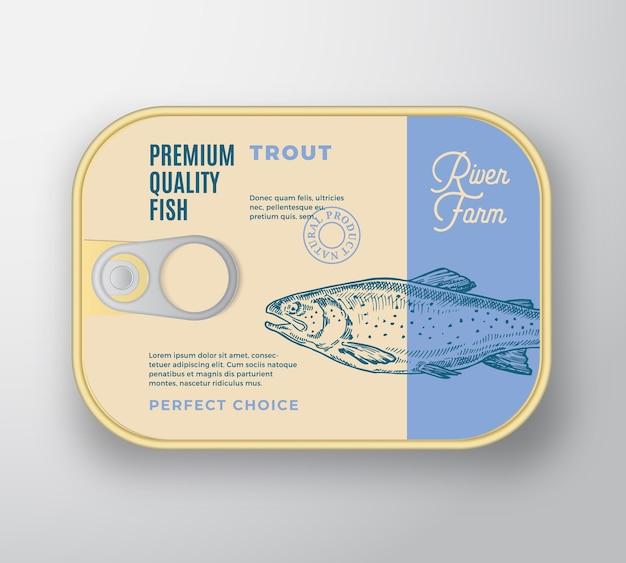 Récipient En Aluminium De Poisson Abstrait Avec Couvercle D'étiquette. Emballage En Conserve Rétro Premium. Vecteur gratuit