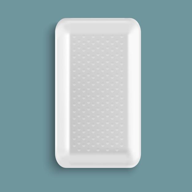 Récipient pour aliments blanc en plastique blanc Vecteur Premium