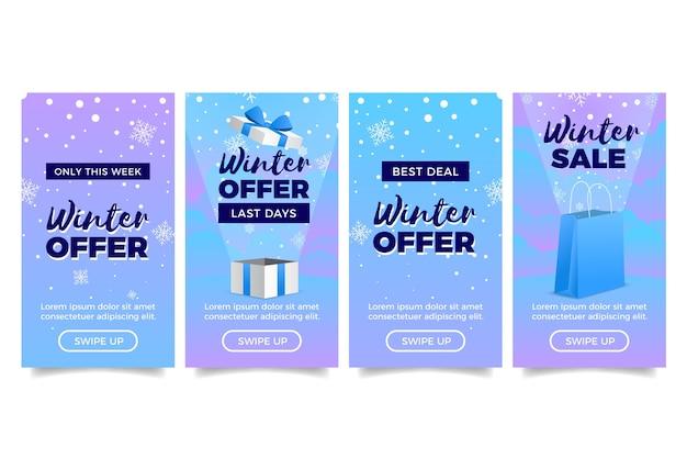 Récit instagram de soldes d'hiver avec des coffrets cadeaux Vecteur gratuit