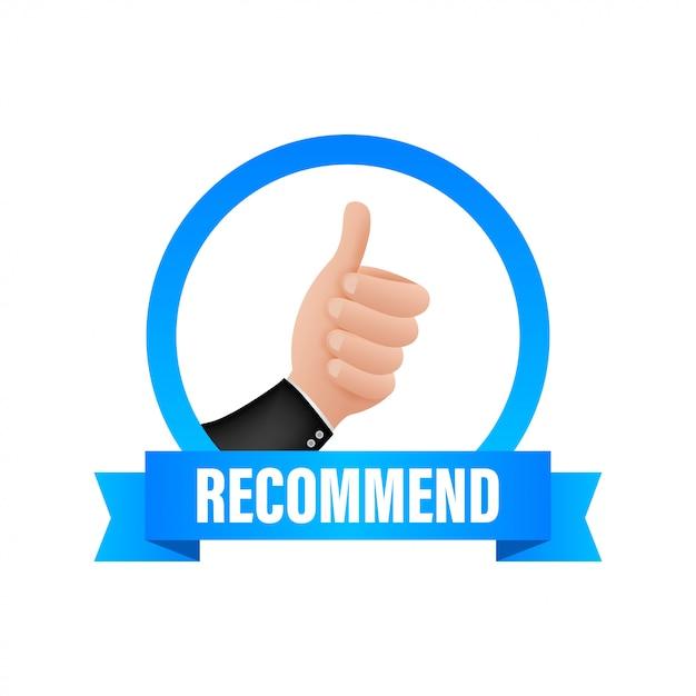 Recommander L'icône. étiquette Blanche Recommandée Sur Fond Bleu. Illustration De Stock Vecteur Premium