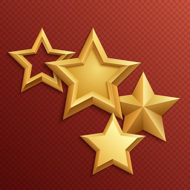 Récompensez les étoiles dorées en métal brillant. métal brillant doré et étoiles dorées Vecteur Premium