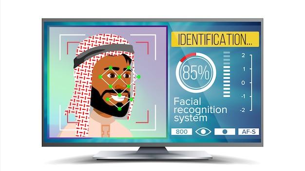Reconnaissance faciale, identification Vecteur Premium