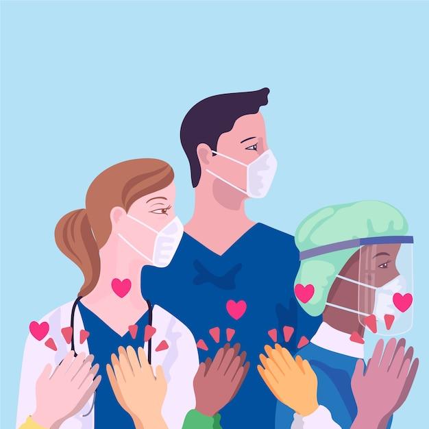 Reconnaissance Des Médecins Et Infirmières Vecteur gratuit