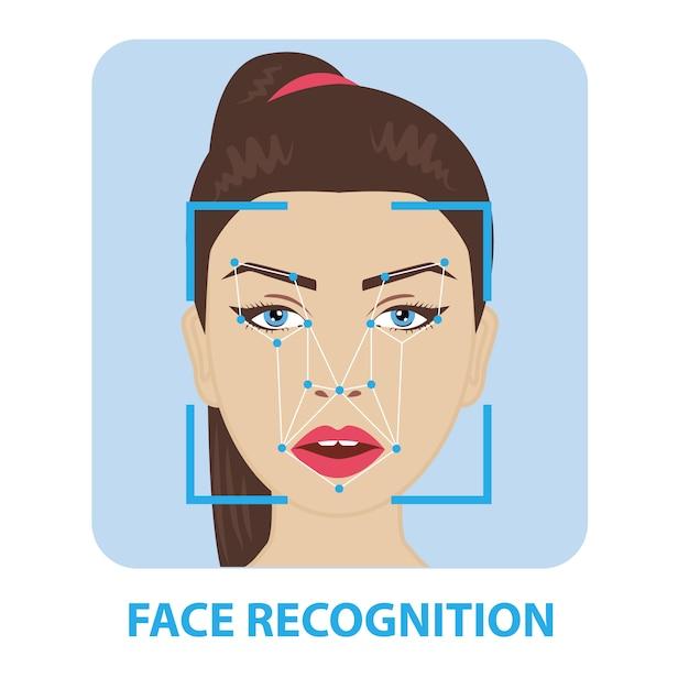 Reconnaissance de visage Vecteur Premium