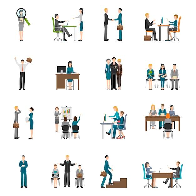 Recruitment hr people icons set Vecteur gratuit
