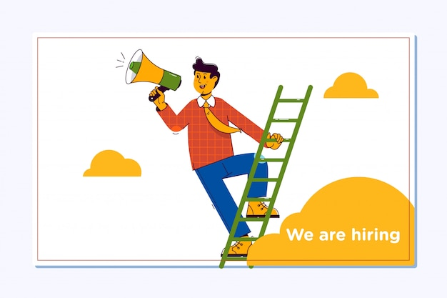 Recrutement affiche de conception de recrutement. main tenant un mégaphone Vecteur Premium