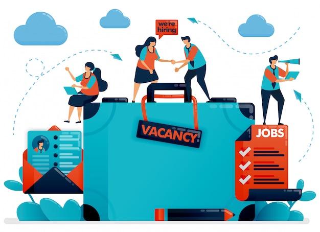Recrutement D'embauche. Illustration De Concept De Poste Vacant Vecteur Premium