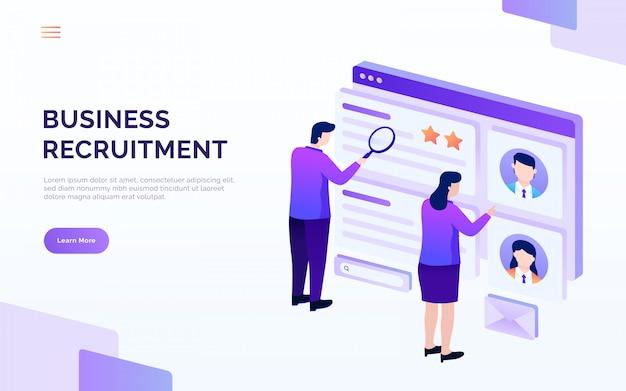 Recrutement et embauche page de destination, les gens analysent cv, illustration vectorielle de poste vacant Vecteur Premium